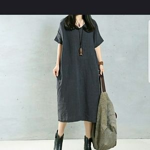 Linen Short Sleeve Dress